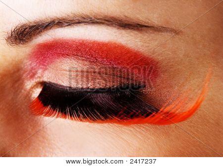 Closeup Of An Eye With Fake Eyelashes