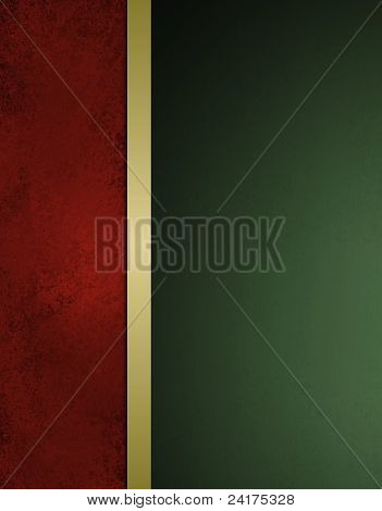 Red and Green Christmas Background with Gold Ribbon