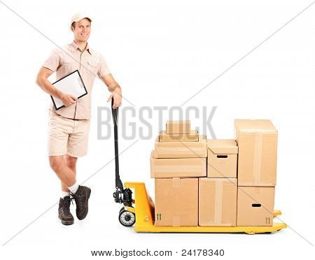 Full length portrait of a delivery person holding a clipboard and a fork pallet truck stacker isolated on white background
