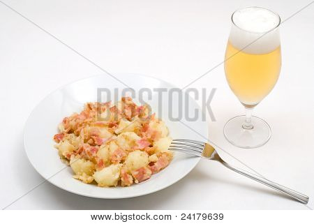 Boiled potato and bacon