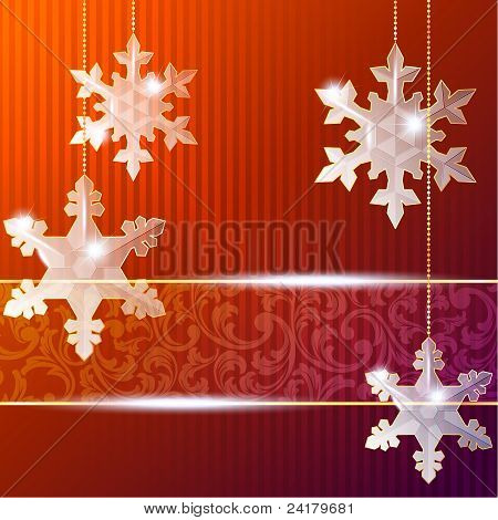 Blue transparent banner with snowflake ornaments