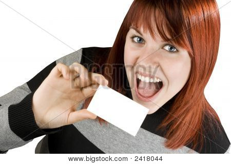 Cute Redhead Holding Blank Business Card