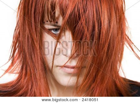 Cute Redhead Girl With Messy Hair