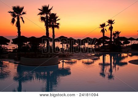 Resort Pool At Sunset