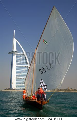 Dhow Sailing To Burj Al Arab
