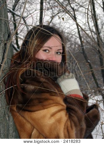 Beautiful Girl In The Winter In Park 4