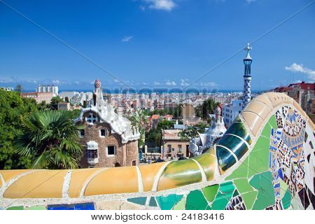 Mosaics in Park Guell, view on Barcelona, Spain