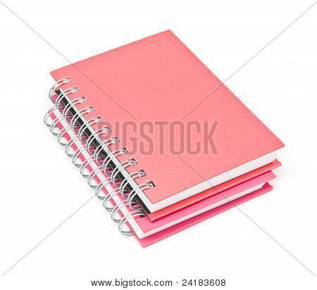 Stack Of Ring Binder Book Or Brown Notebook