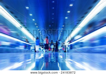 People rush in subway. Conceptual motion blur, fast pace of life