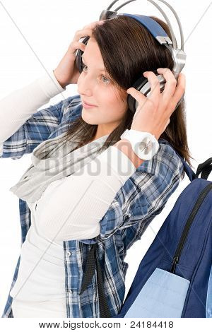 Happy Female Teenager Enjoy Music Headphones