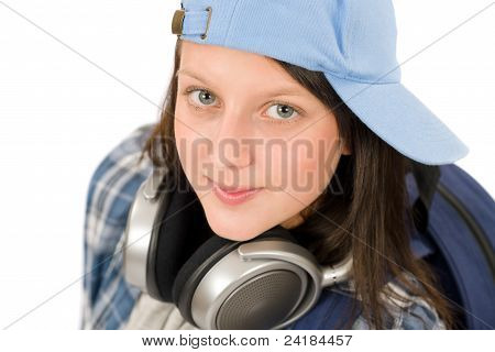 Teenager Cute Girl Enjoy Music With Headphones