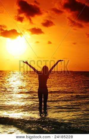 happy woman standing on a sunset