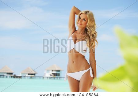 woman on tropical beach house background