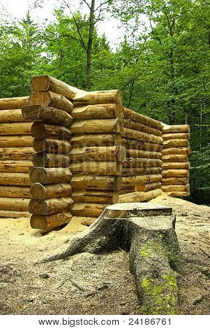 Construction site of a log cabin,