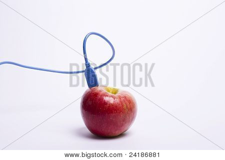 Red Apple With A Usb Cable Connected