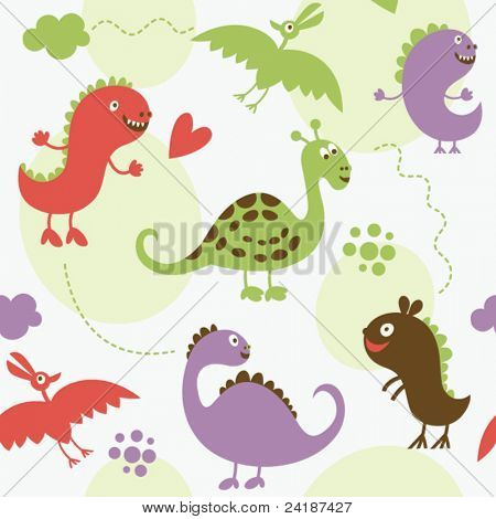 seamless pattern with cartoon dinosaur