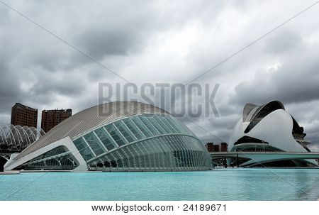 VALENCIA, SPAIN - JULY 22: Hemisferic in The City of Arts and Sciences on July 22, 2011 in Valencia, Spain. This futuristic building was designed by the famous architect Santiago Calatrava.