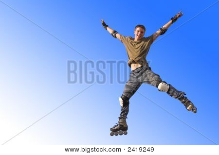 Active Roller Boy Jumping