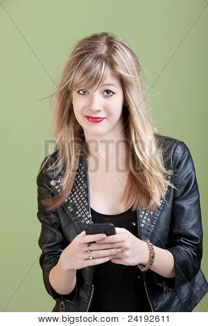 Girl With Messy Hair And Smartphone Or Audio Device