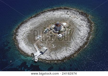 Pokonji Dol lighthouse from air
