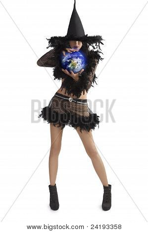 Girl In Halloween Dress Holding World Ball