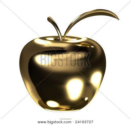 Gold apple with leaf