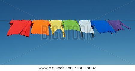 Rainbow Laundry, Bright Shirts On A Clothesline