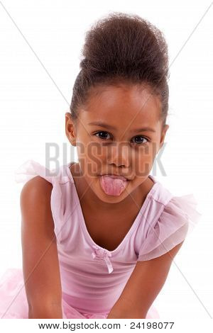 Cute Little African Asian Girl Sticking Tongue Out
