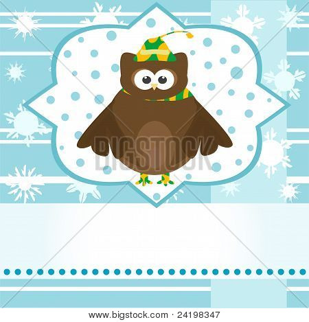 cartoon cute owl winter greetings card vector background