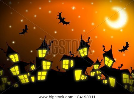Halloween Night City Background