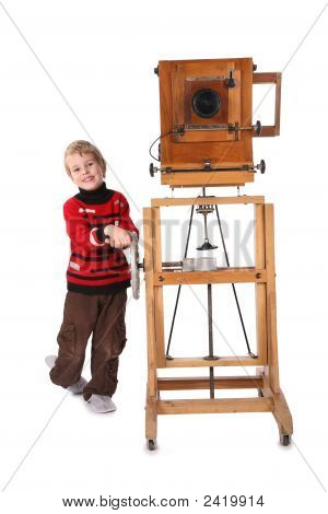 Boy And Obsolete Camera