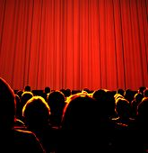 picture of curtains stage  - Business audience waiting for a seminar or show - JPG