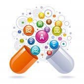 Medical Vitamin, Mineral Background. Multivitamin Complex Of Pill Capsule, Color Vitamins Bubbles Mo poster