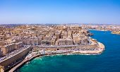 Aerial Panorama Sunrise Photo - Ancient Capital City Of Valletta Malta. Island Country Of Europe In  poster