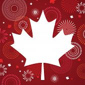 Maple Leaf With Firework Poster For Celebrate The National Day Of Canada. Happy Canada Day Card. Can poster