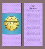 100 Guarantee Premium Best Choice Exclusive Quality Golden Label Award Emblem Isolated On Purple Vec poster