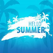 Summer Tropical Background With Palms And Sunset. Summer Placard Poster Flyer Invitation Card. Summe poster