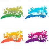 Summer Tropical Backgrounds Set With Palms And Sunset. Summer Placard Poster Flyer Invitation Card.  poster