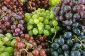 Different Varieties Of Fresh Ripe Grapes, Bunches Of Berries Are Green, Black And Violet, Food Backg poster