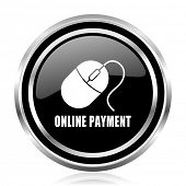 Online payment black silver metallic chrome border glossy round web icon poster