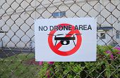 No Drone Area Sign In Japan. Translation- Use Of Drone Or Any Small Flying Object In This Area Is Pr poster