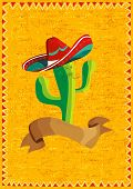 picture of cactus  - Mexican funny cactus cartoon character and ribbon illustration over grunge background - JPG