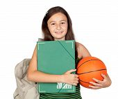 Student Girl With Folder, Backpack And Basketball