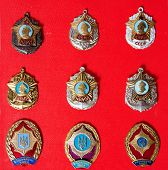 Badges, Military School, Badges Of The Military Suvorov Cadet School For Many Years, Collection poster