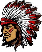 picture of indian chief  - Native American Indian Chief Mascot with Headdress Graphic - JPG