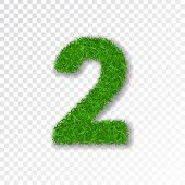 Grass Number 2. Green Number Two, Isolated On White Transparent Background. Green Grass 2, Fresh Sym poster