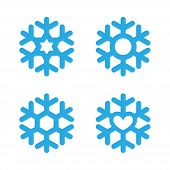 Snowflakes Signs Set. Blue Snowflake Icons Isolated On White Background. Snow Flake Silhouettes. Sym poster