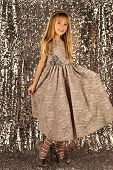Child Girl In Stylish Glamour Dress, Elegance. Fashion And Beauty, Little Princess. Fashion Model On poster