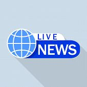 Blue Live Global News Logo. Flat Illustration Of Blue Live Global News Vector Logo For Web Design poster