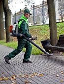 picture of leaf-blower  - Landscaper operating gasoline Leaf Blower while removing - JPG